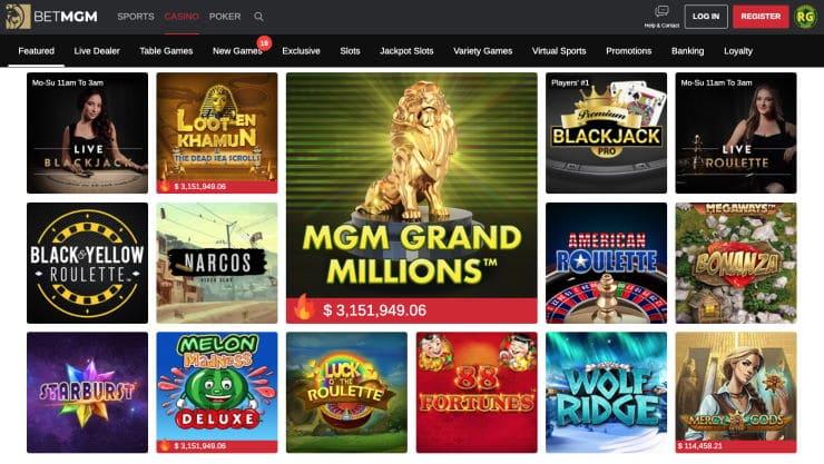 Games at PlayMGM Casino
