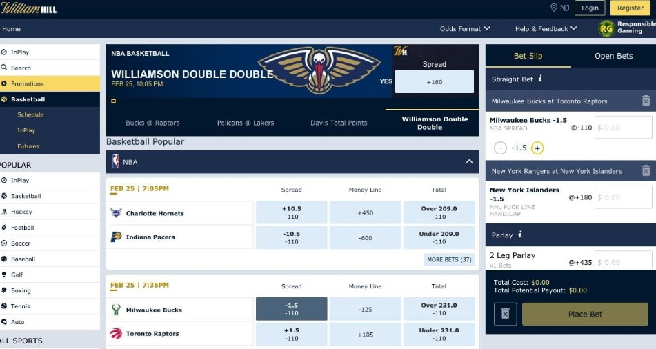 Betting at William Hill Sportsbook Online